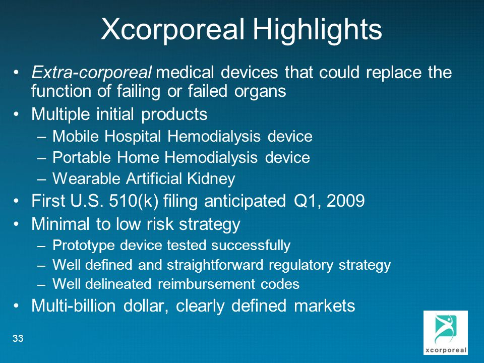Xcorporeal Highlights Extra-corporeal medical devices that could replace the function of failing or failed organs Multiple initial products –Mobile Hospital Hemodialysis device –Portable Home Hemodialysis device –Wearable Artificial Kidney First U.S.