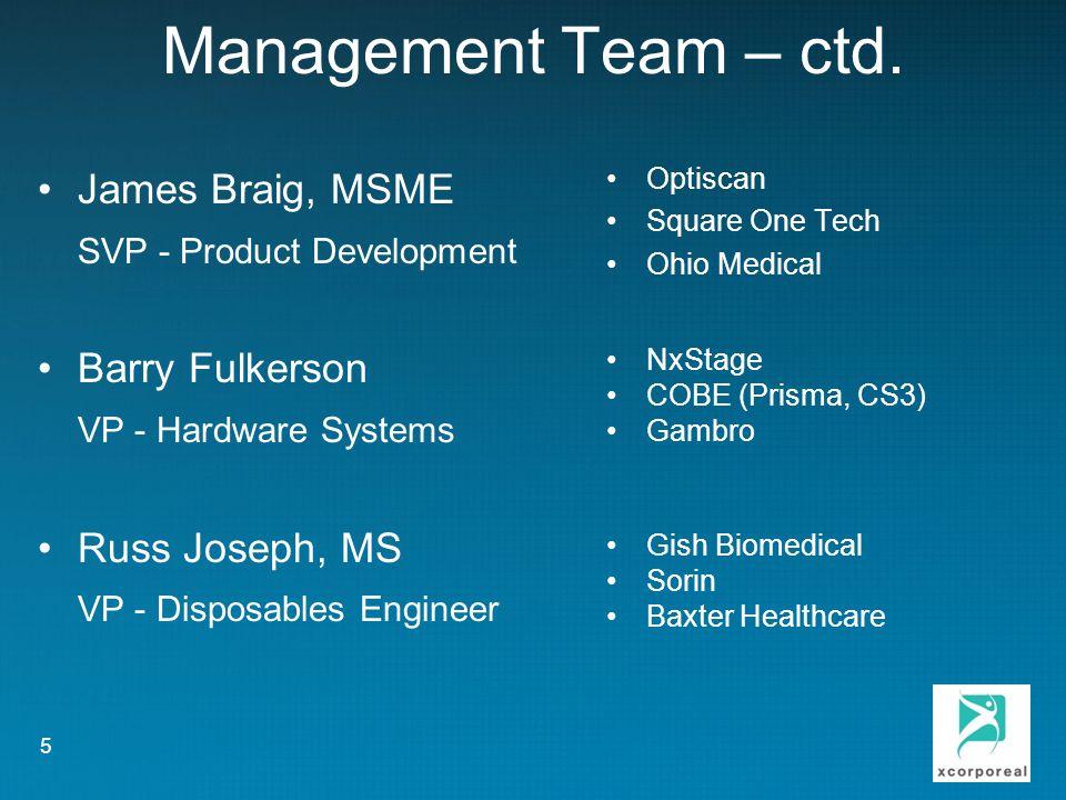 Management Team – ctd.