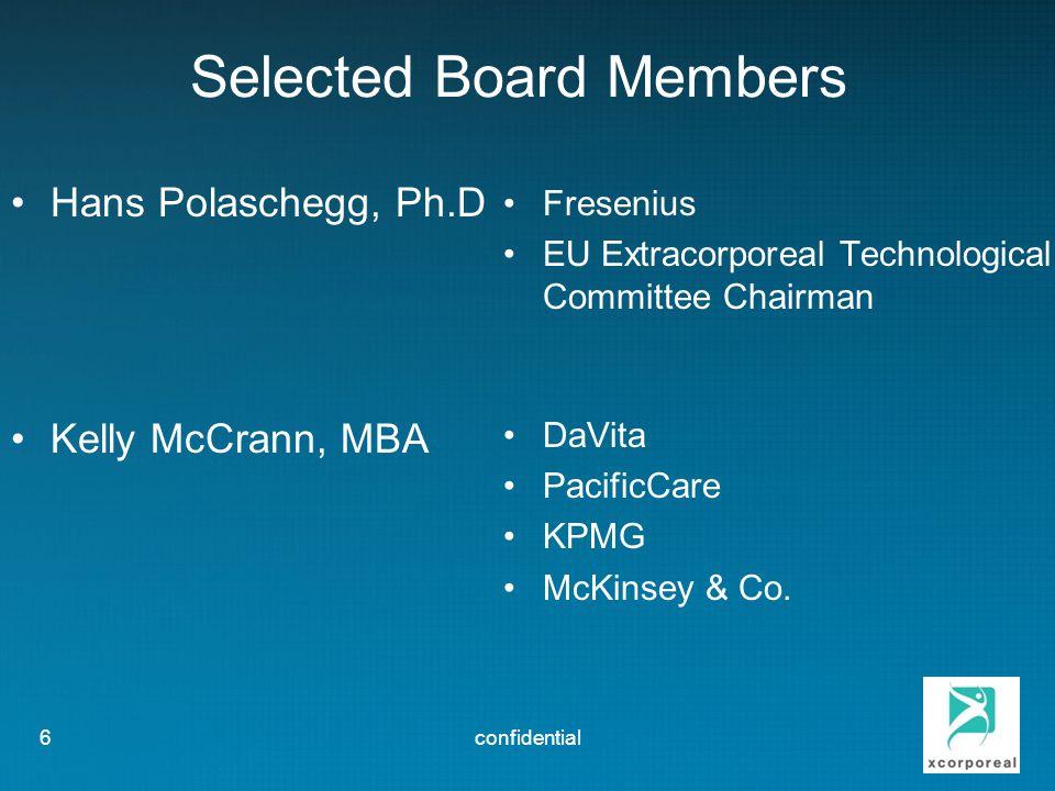 Selected Board Members Hans Polaschegg, Ph.D Kelly McCrann, MBA Fresenius EU Extracorporeal Technological Committee Chairman DaVita PacificCare KPMG McKinsey & Co.