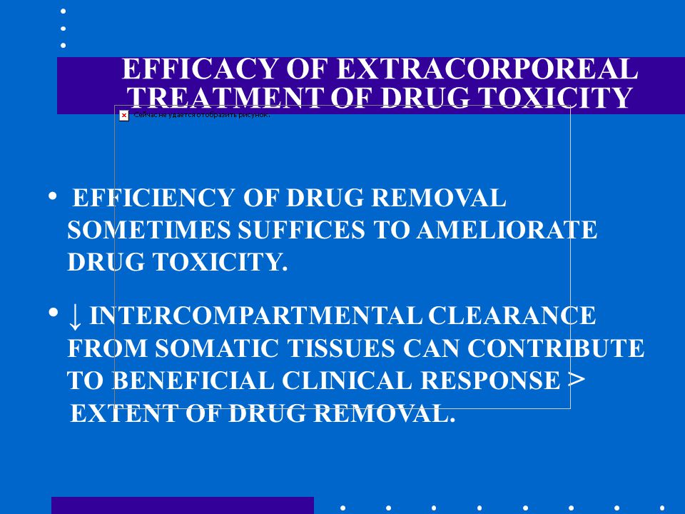 EFFICACY OF EXTRACORPOREAL TREATMENT OF DRUG TOXICITY EFFICIENCY OF DRUG REMOVAL SOMETIMES SUFFICES TO AMELIORATE DRUG TOXICITY.