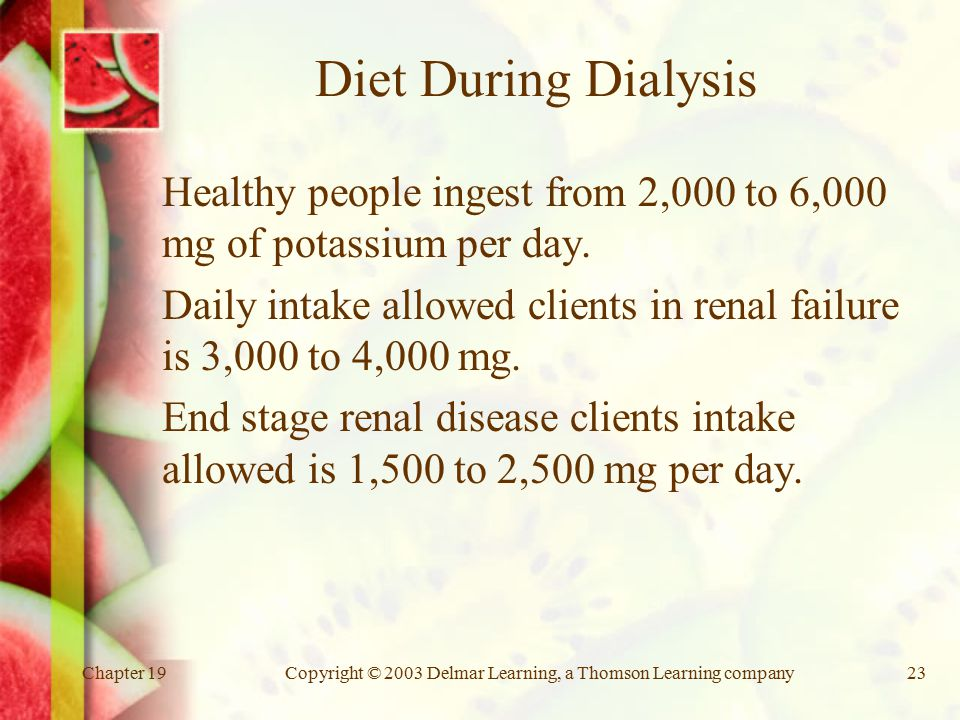 Chapter 19Copyright © 2003 Delmar Learning, a Thomson Learning company23 Diet During Dialysis Healthy people ingest from 2,000 to 6,000 mg of potassium per day.