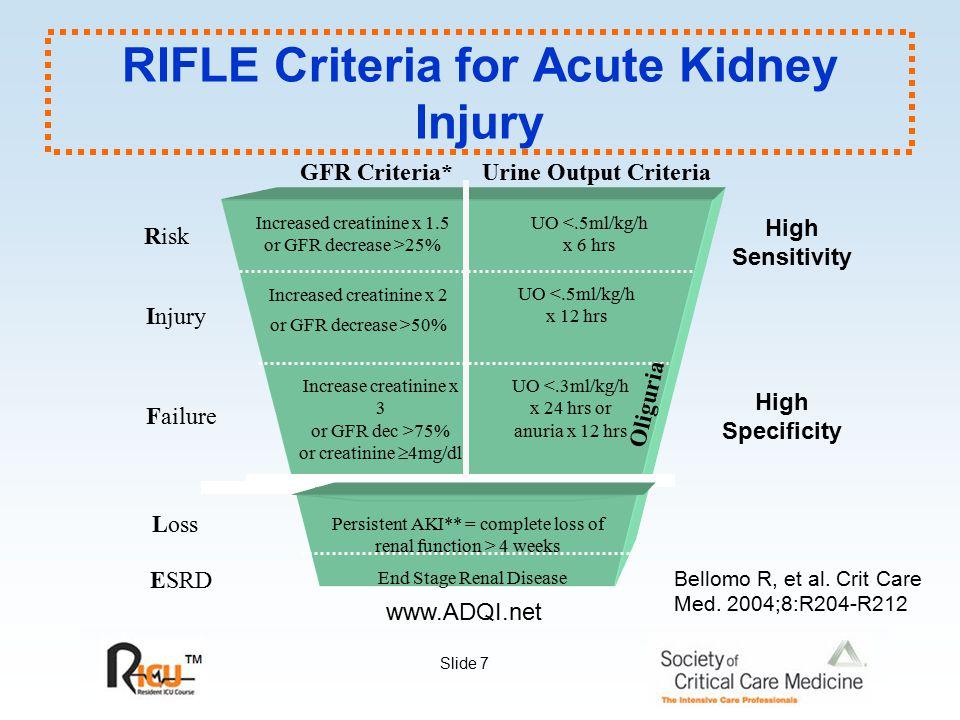 Slide 7 RIFLE Criteria for Acute Kidney Injury www.ADQI.net Increased creatinine x 1.5 or GFR decrease >25% End Stage Renal Disease GFR Criteria*Urine