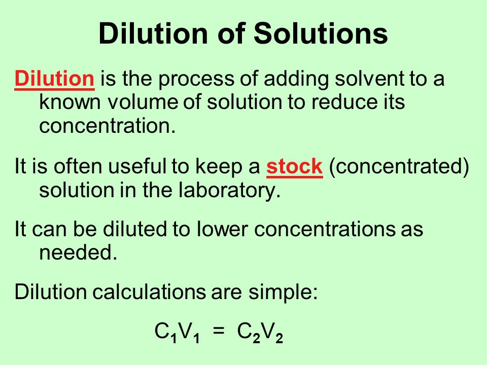 Dilution of Solutions If I take 15 mL of that CuSO 4 solution I made, and dilute it to 100.