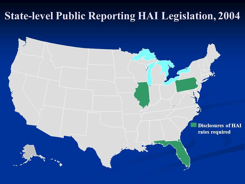 Disclosures of HAI rates required DC* State-level Public Reporting HAI Legislation, 2004