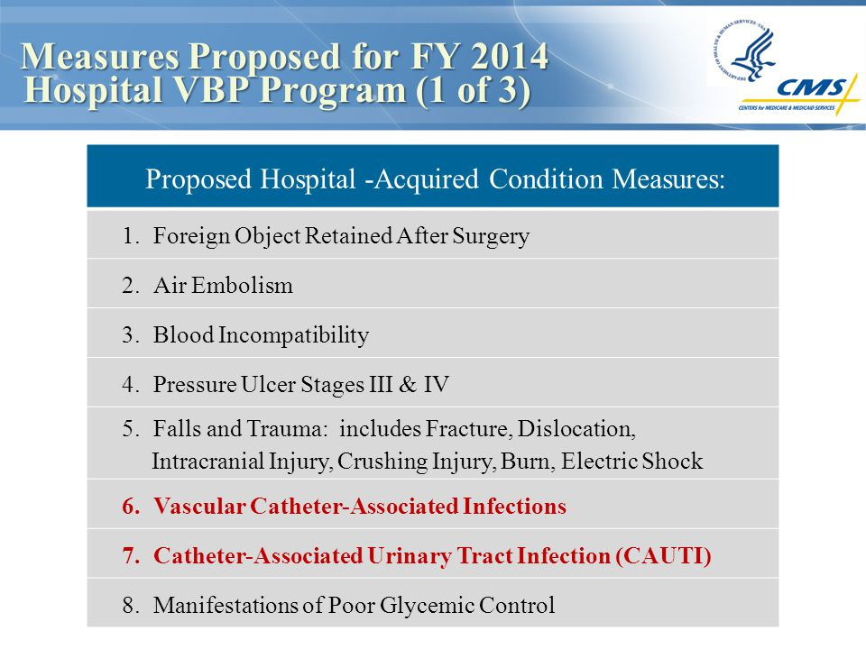 Measures Proposed for FY 2014 Hospital VBP Program (1 of 3) Measures Proposed for FY 2014 Hospital VBP Program (1 of 3) Proposed Hospital -Acquired Co
