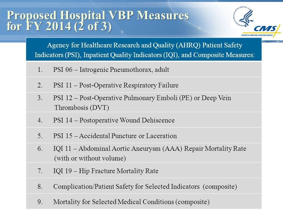 Proposed Hospital VBP Measures for FY 2014 (2 of 3) Proposed Hospital VBP Measures for FY 2014 (2 of 3) Agency for Healthcare Research and Quality (AHRQ) Patient Safety Indicators (PSI), Inpatient Quality Indicators (IQI), and Composite Measures: 1.