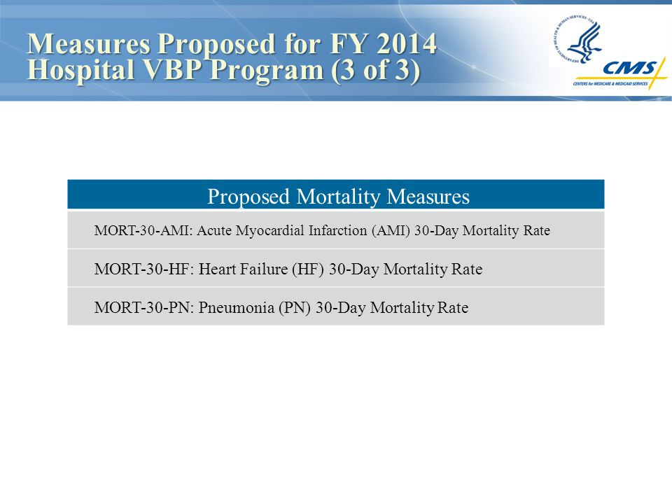 Measures Proposed for FY 2014 Hospital VBP Program (3 of 3) Measures Proposed for FY 2014 Hospital VBP Program (3 of 3) MORT-30-HF: Heart Failure (HF) 30-Day Mortality Rate MORT-30-PN: Pneumonia (PN) 30-Day Mortality Rate Proposed Mortality Measures MORT-30-AMI: Acute Myocardial Infarction (AMI) 30-Day Mortality Rate MORT-30-HF: Heart Failure (HF) 30-Day Mortality Rate MORT-30-PN: Pneumonia (PN) 30-Day Mortality Rate