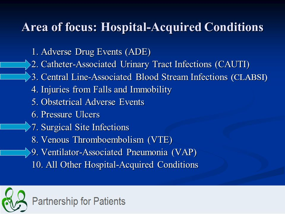 Area of focus: Hospital-Acquired Conditions 1. Adverse Drug Events (ADE) 2. Catheter-Associated Urinary Tract Infections (CAUTI) 3. Central Line-Assoc