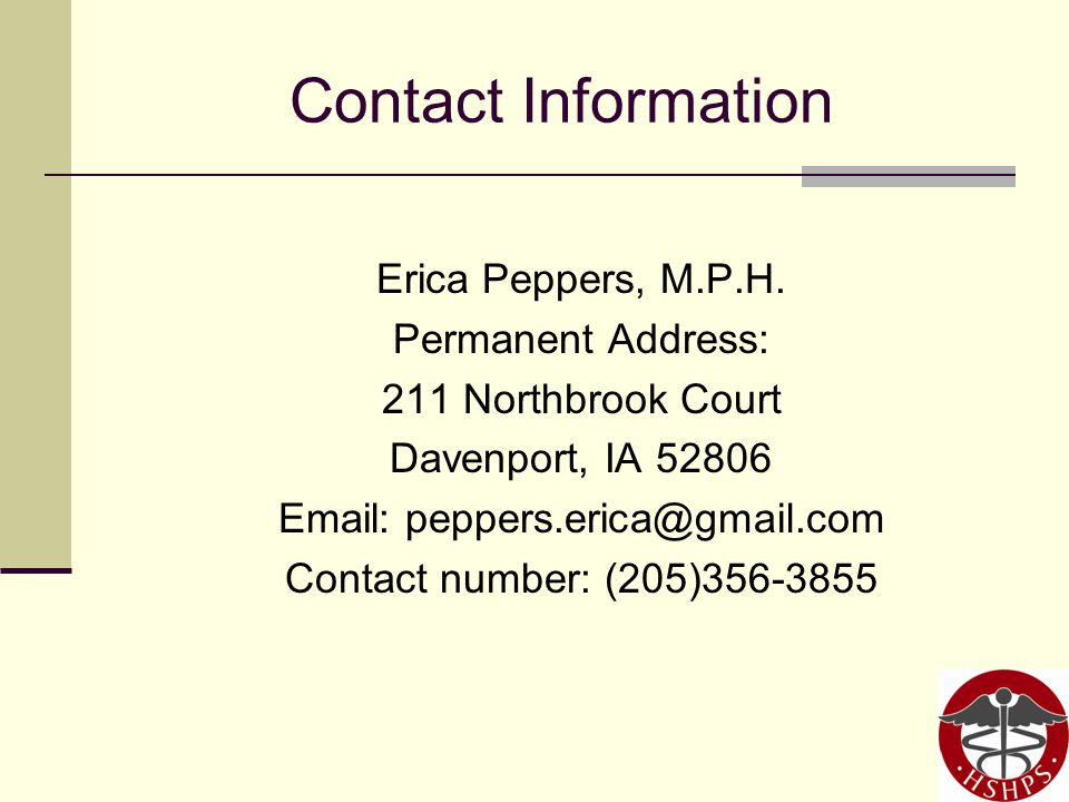 Contact Information Erica Peppers, M.P.H.