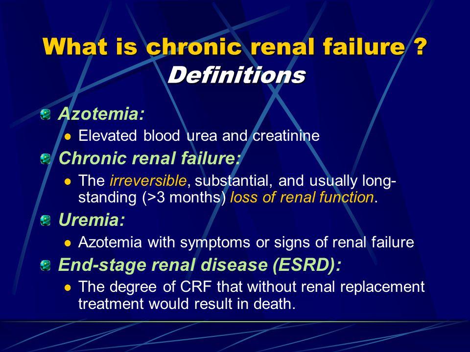 Urinary abnormalities (GFR  90 ml/min) Mildly impaired (GFR 60 - 89 ml/min) Moderate CRF (GFR 30 - 59 ml/min) Severe CRF (GFR 15 - 29 ml/min) ESRD (GFR < 15 ml/min) STAGES OF Chronic Kidney Disease (CKD)