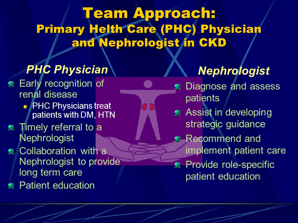 Team Approach: Primary Helth Care (PHC) Physician and Nephrologist in CKD PHC Physician Early recognition of renal disease PHC Physicians treat patients with DM, HTN Timely referral to a Nephrologist Collaboration with a Nephrologist to provide long term care Patient education Nephrologist Diagnose and assess patients Assist in developing strategic guidance Recommend and implement patient care Provide role-specific patient education