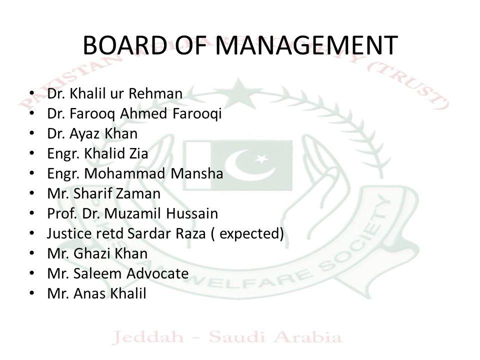 BOARD OF MANAGEMENT Dr. Khalil ur Rehman Dr. Farooq Ahmed Farooqi Dr.