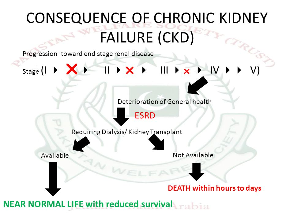 CONSEQUENCE OF CHRONIC KIDNEY FAILURE (CKD) Progression toward end stage renal disease Stage (I    II   III    IV  V) Deterioration of Gene