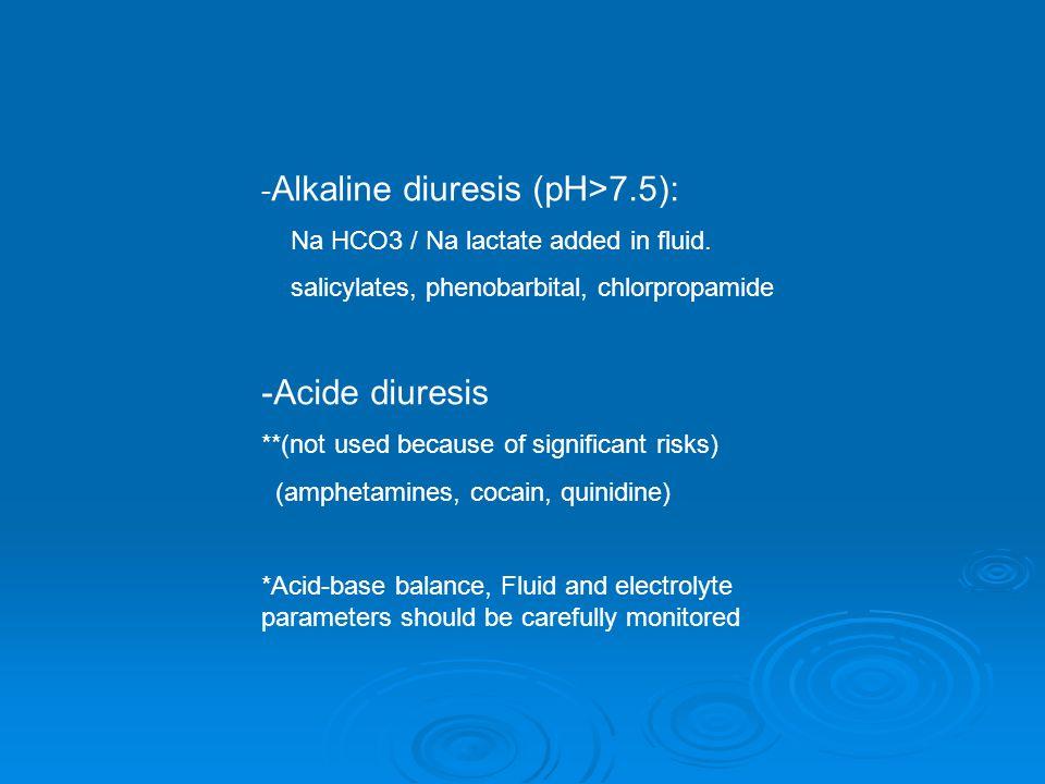- Alkaline diuresis (pH>7.5): Na HCO3 / Na lactate added in fluid.