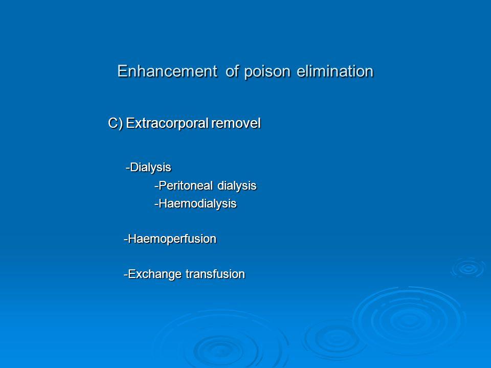Enhancement of poison elimination C) Extracorporal removel C) Extracorporal removel -Dialysis -Dialysis -Peritoneal dialysis -Peritoneal dialysis -Haemodialysis -Haemodialysis -Haemoperfusion -Haemoperfusion -Exchange transfusion -Exchange transfusion