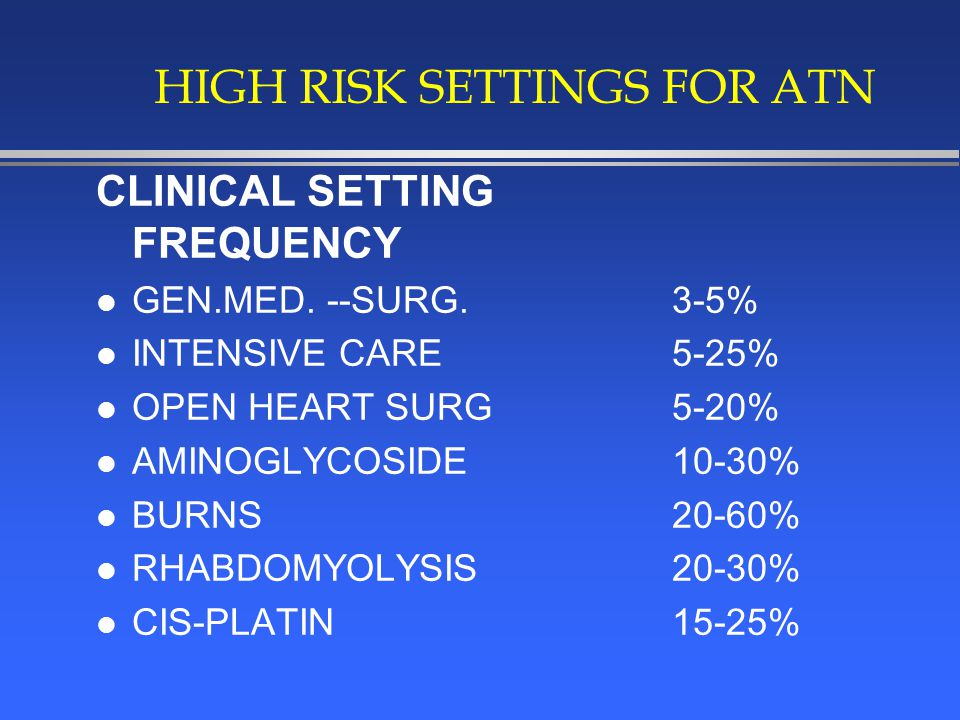 HIGH RISK SETTINGS FOR ATN CLINICAL SETTING FREQUENCY l GEN.MED.