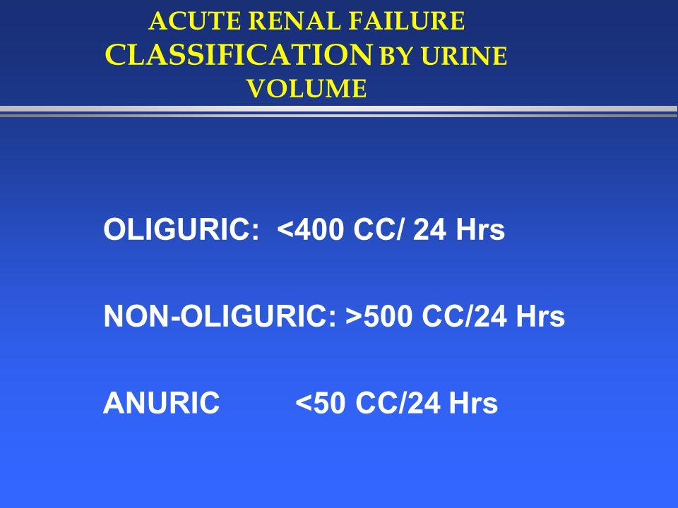 ETIOLOGY OF ACUTE RENAL FAILURE l PRE-RENAL 55-60% l POST RENAL<5% l RENAL35-40%