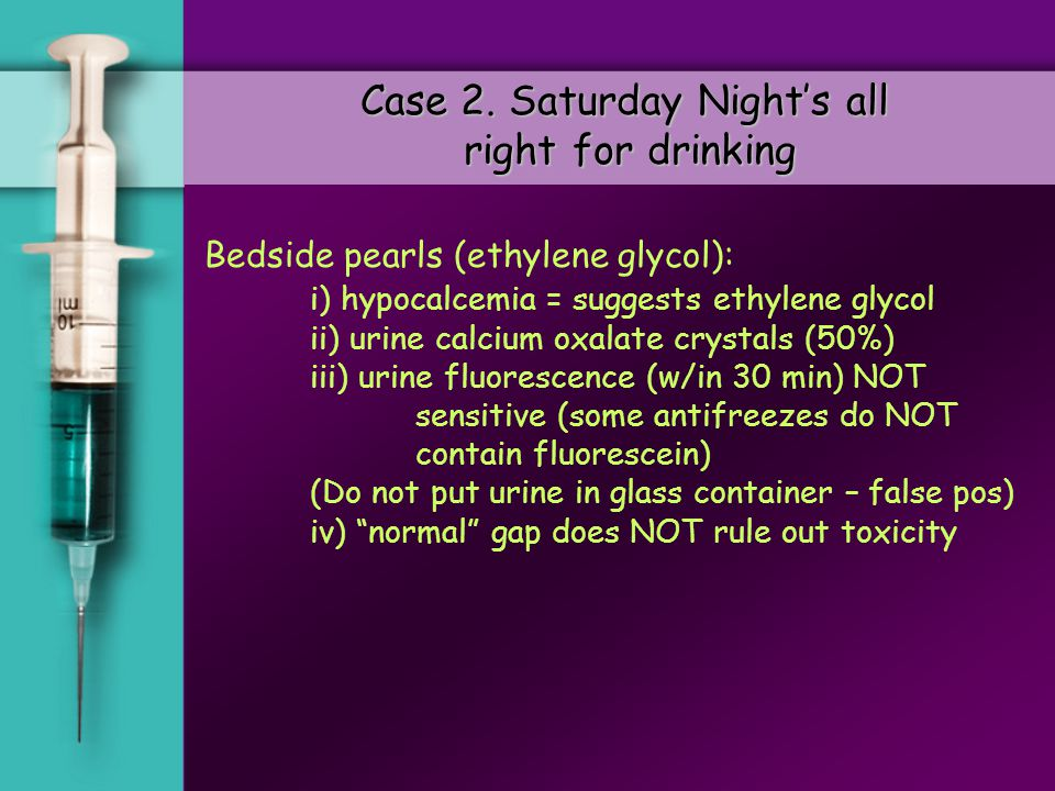 MethanolEthylene Glycol Alcohol dehydrogenase Formaldehyde Aldehyde dehydrogenase Formic acid Lactic Dehydrogenase Or Glycolic acid Oxidase Glyoxylic acid & Oxalic acid A-OH-B ketoadipic acid Glycine and benzoic acid Ethylene Glycol / Methanol Glycoaldehyde Glycolic acid Th B6B6 CO 2 & H 2 O Folate