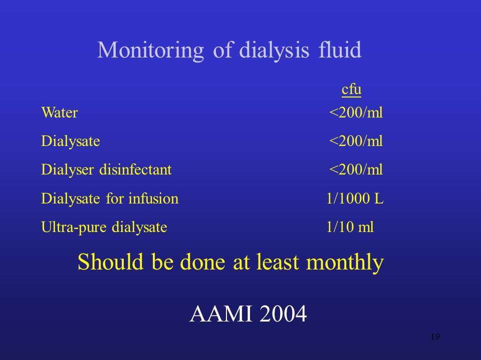 cfu Water <200/ml Dialysate <200/ml Dialyser disinfectant<200/ml Dialysate for infusion 1/1000 L Ultra-pure dialysate 1/10 ml AAMI 2004 Monitoring of dialysis fluid Should be done at least monthly 19