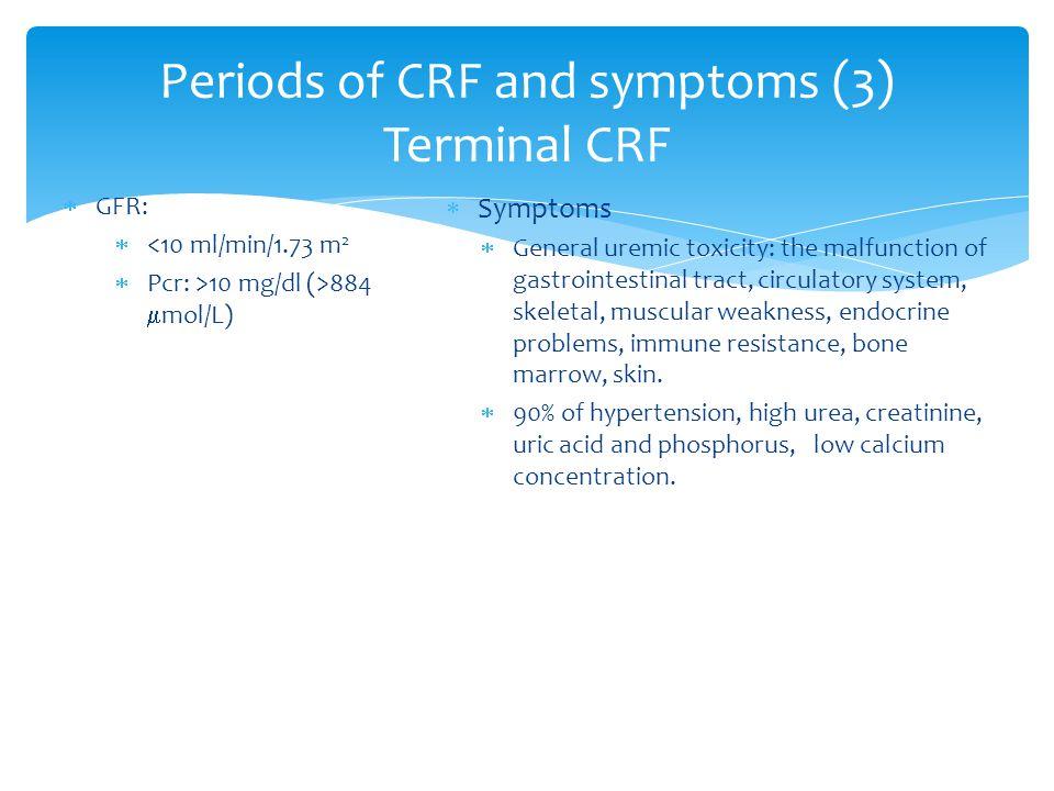 Periods of CRF and symptoms (3) Terminal CRF  GFR:  <10 ml/min/1.73 m 2  Pcr: >10 mg/dl (>884  mol/L)  Symptoms  General uremic toxicity: the ma