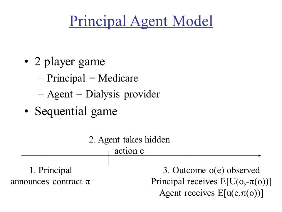 Principal Agent Model 2 player game –Principal = Medicare –Agent = Dialysis provider Sequential game 1. Principal announces contract  2. Agent takes