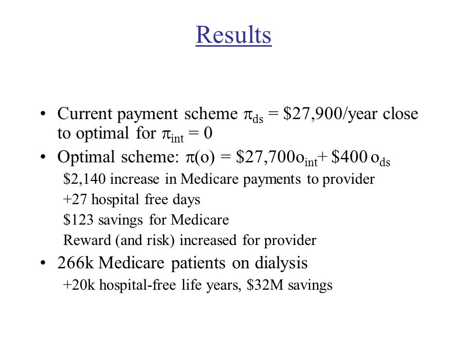 Results Current payment scheme  ds = $27,900/year close to optimal for  int = 0 Optimal scheme:  (o) = $27,700o int + $400 o ds $2,140 increase in Medicare payments to provider +27 hospital free days $123 savings for Medicare Reward (and risk) increased for provider 266k Medicare patients on dialysis +20k hospital-free life years, $32M savings