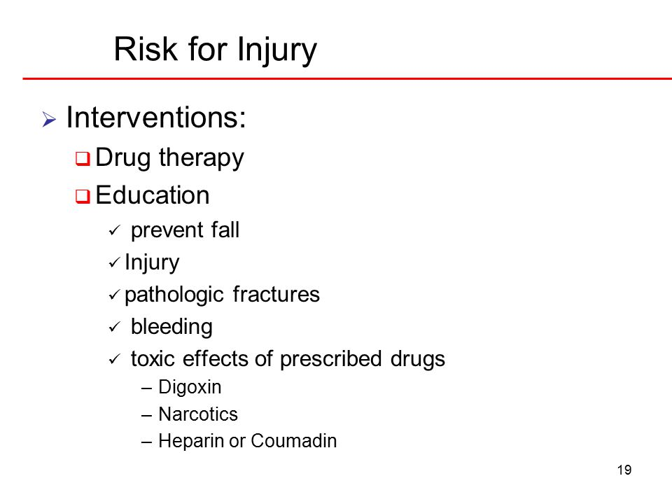 19 Risk for Injury  Interventions:  Drug therapy  Education prevent fall Injury pathologic fractures bleeding toxic effects of prescribed drugs –Digoxin –Narcotics –Heparin or Coumadin