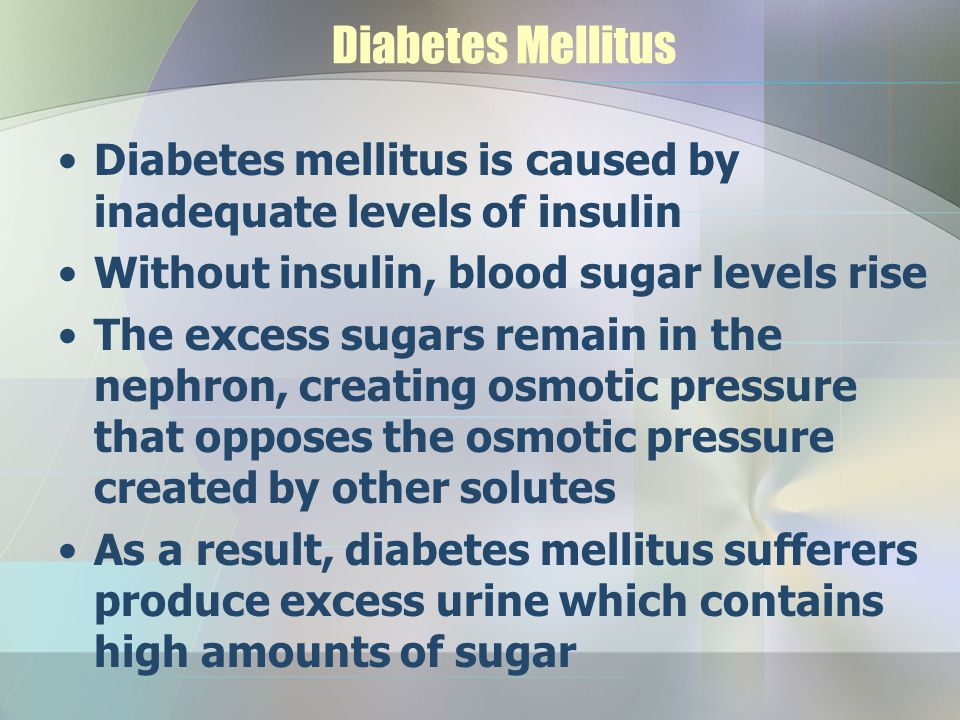 Diabetes Mellitus Diabetes mellitus is caused by inadequate levels of insulin Without insulin, blood sugar levels rise The excess sugars remain in the