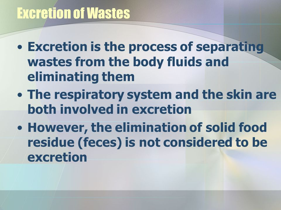 Excretion of Wastes Excretion is the process of separating wastes from the body fluids and eliminating them The respiratory system and the skin are bo