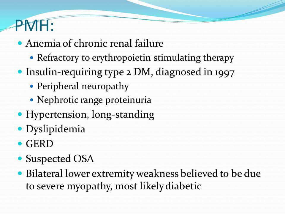 PMH: Febrile nonhemolytic transfusion reaction, February 2010 Streptococcal pharyngitis, April 2010 Morbid obesity with BMI greater than 40
