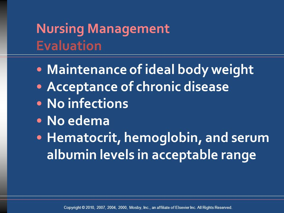 Copyright © 2010, 2007, 2004, 2000, Mosby, Inc., an affiliate of Elsevier Inc. All Rights Reserved. Nursing Management Evaluation Maintenance of ideal