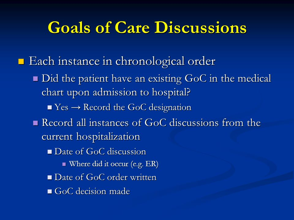 Goals of Care Discussions Each instance in chronological order Each instance in chronological order Did the patient have an existing GoC in the medical chart upon admission to hospital.