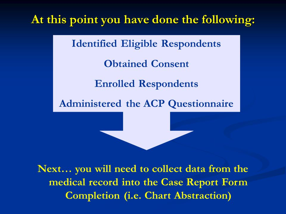 Identified Eligible Respondents Obtained Consent Enrolled Respondents Administered the ACP Questionnaire Next… you will need to collect data from the medical record into the Case Report Form Completion (i.e.
