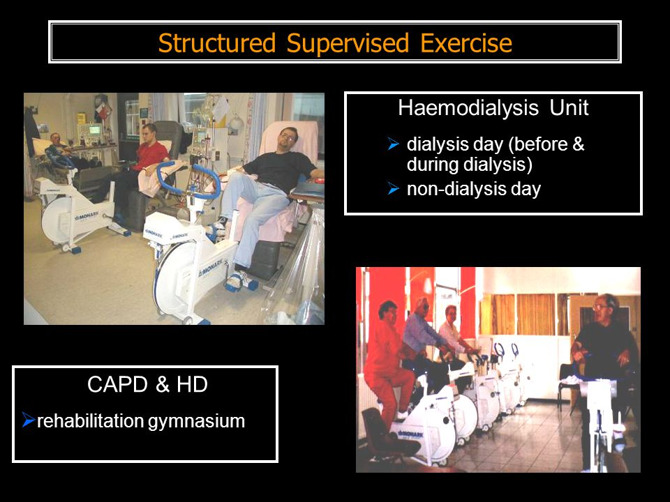 Structured Supervised Exercise Haemodialysis Unit  dialysis day (before & during dialysis)  non-dialysis day CAPD & HD  rehabilitation gymnasium
