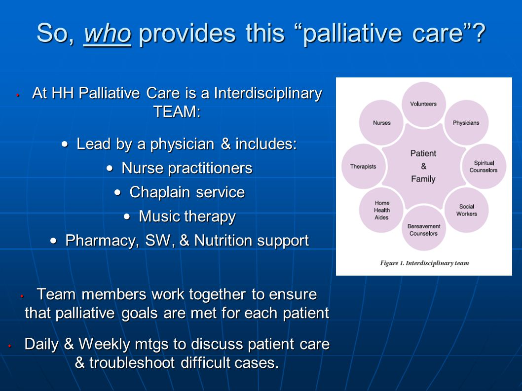 So, who provides this palliative care .