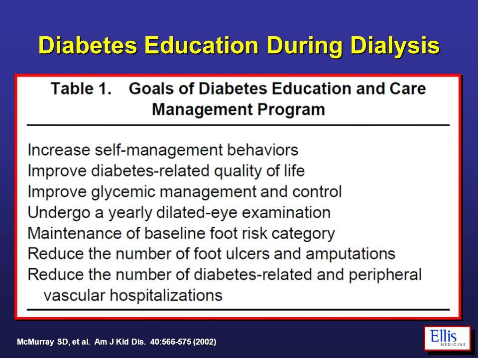 Diabetes Education During Dialysis McMurray SD, et al. Am J Kid Dis. 40:566-575 (2002)