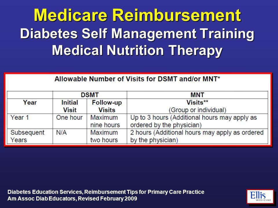 Medicare Reimbursement Diabetes Self Management Training Medical Nutrition Therapy Diabetes Education Services, Reimbursement Tips for Primary Care Practice Am Assoc Diab Educators, Revised February 2009