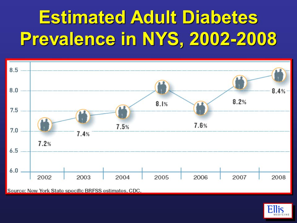 Estimated Adult Diabetes Prevalence in NYS, 2002-2008