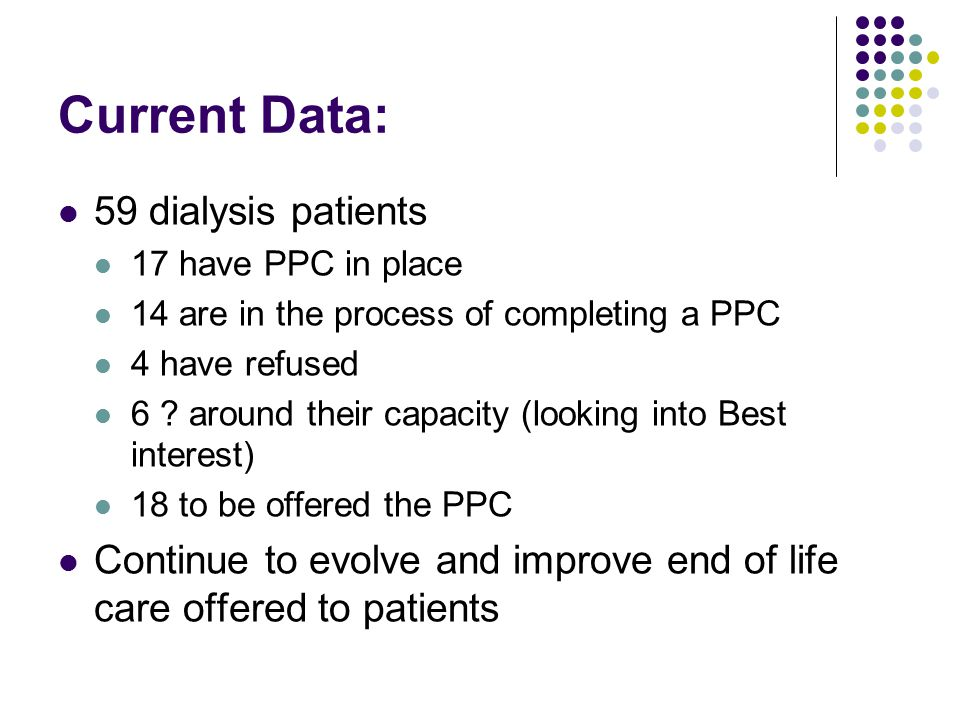 Current Data: 59 dialysis patients 17 have PPC in place 14 are in the process of completing a PPC 4 have refused 6 .