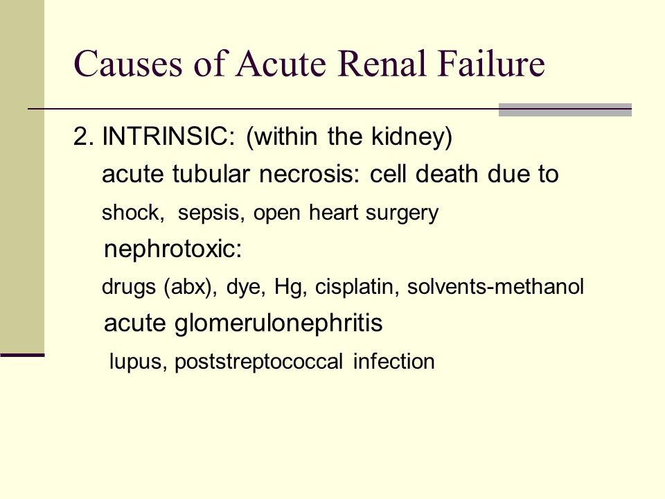 Causes of Acute Renal Failure 2.