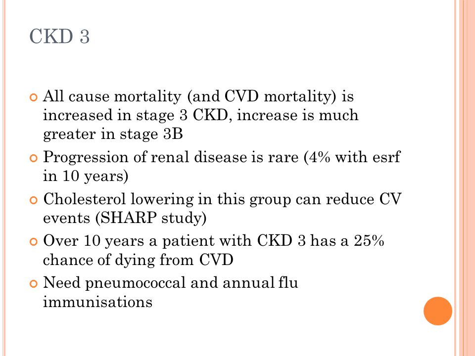 CKD 3 All cause mortality (and CVD mortality) is increased in stage 3 CKD, increase is much greater in stage 3B Progression of renal disease is rare (