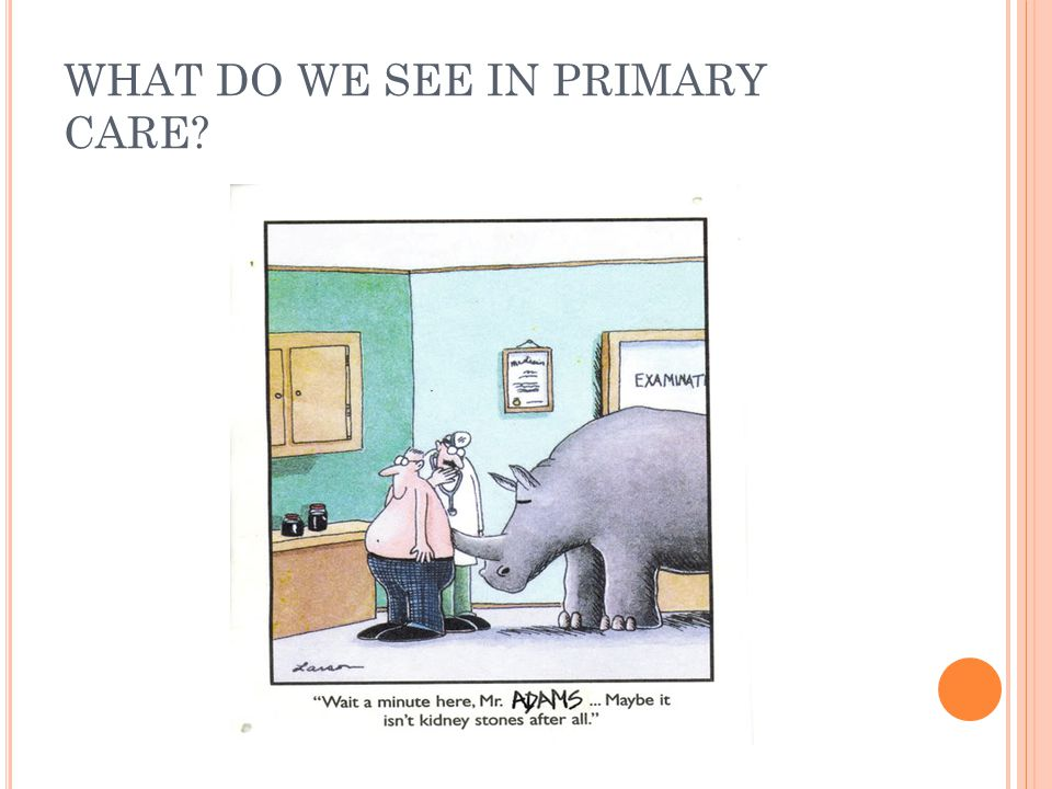 WHAT DO WE SEE IN PRIMARY CARE