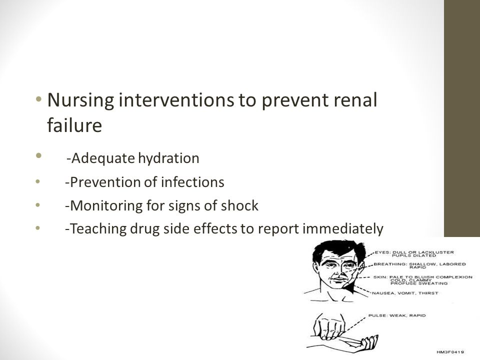 Nursing interventions to prevent renal failure -Adequate hydration -Prevention of infections -Monitoring for signs of shock -Teaching drug side effect