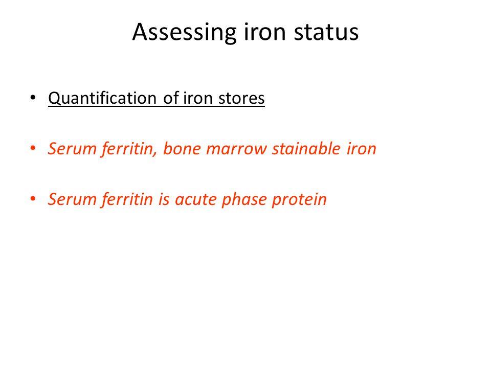 Assessing iron status Quantification of iron stores Serum ferritin, bone marrow stainable iron Serum ferritin is acute phase protein