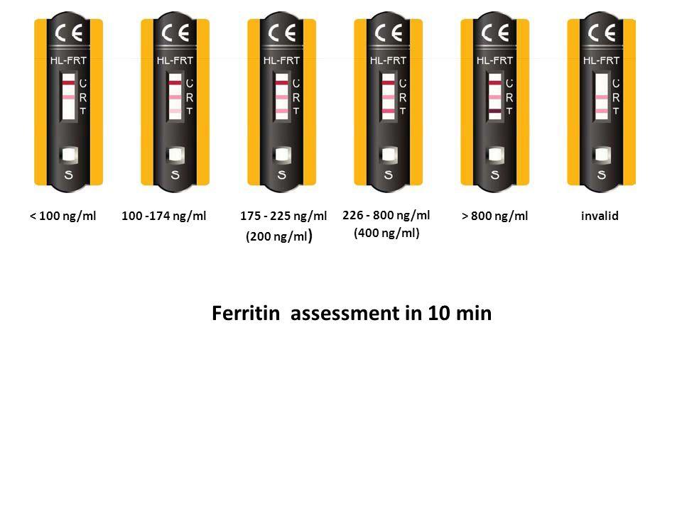 < 100 ng/ml100 -174 ng/ml175 - 225 ng/ml (200 ng/ml ) 226 - 800 ng/ml > 800 ng/ml (400 ng/ml) invalid Ferritin assessment in 10 min
