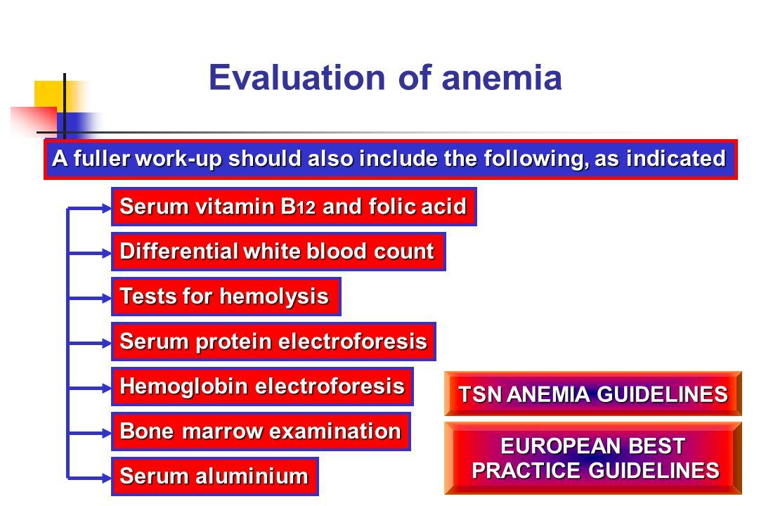Evaluation of anemia Serum vitamin B 12 and folic acid Differential white blood count Tests for hemolysis Serum protein electroforesis Bone marrow exa