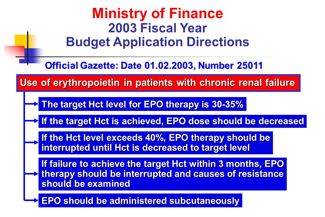 Ministry of Finance 2003 Fiscal Year Budget Application Directions Official Gazette: Date 01.02.2003, Number 25011 Use of erythropoietin in patients w