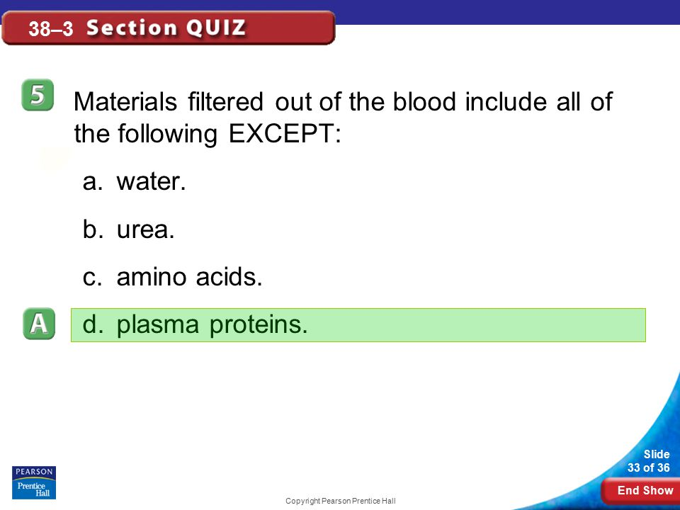 End Show Slide 33 of 36 Copyright Pearson Prentice Hall 38–3 Materials filtered out of the blood include all of the following EXCEPT: a.water. b.urea.