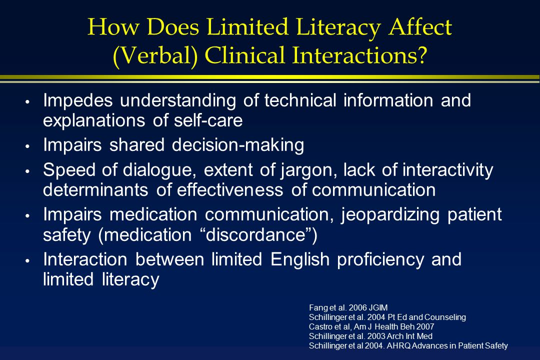 How Does Limited Literacy Affect (Verbal) Clinical Interactions.