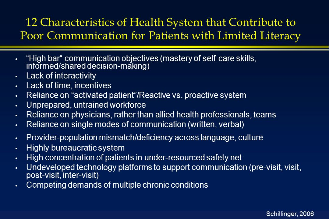 12 Characteristics of Health System that Contribute to Poor Communication for Patients with Limited Literacy High bar communication objectives (mastery of self-care skills, informed/shared decision-making) Lack of interactivity Lack of time, incentives Reliance on activated patient /Reactive vs.